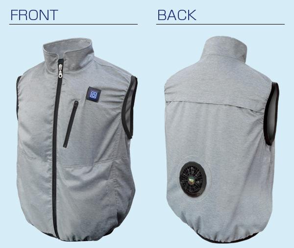 胸スイッチ式空調ベスト®(裏チタン/1つ穴/ハーネス対応)フルセット 仕様