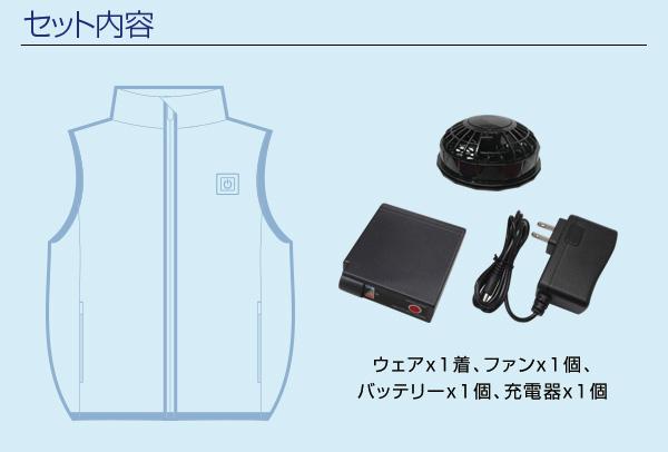 胸スイッチ式空調ベスト®(裏チタン/1つ穴/ハーネス対応)フルセット セット内容