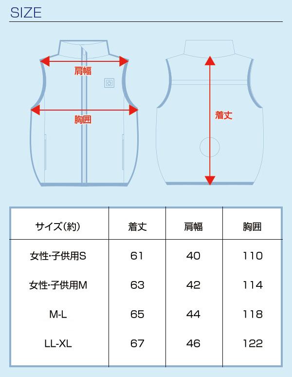 胸スイッチ式空調ベスト®(裏チタン/1つ穴/ハーネス対応)フルセット サイズ